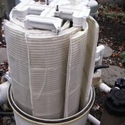 AFTER - D.E. filter grids after a thorough cleaning, and a chemical bath.