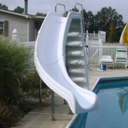 Sliding board installed years after pool was built.