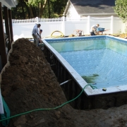 DURING - Removing old pool, hand dig in progress.