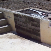 In Progress - Wall built to delete existing step.