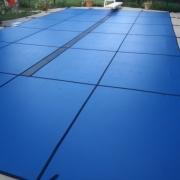 AFTER - Solid Blue Safety Cover with Blue Ultra-Mesh Center Drain