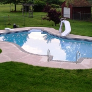 """Free form"" shaped vinyl lined pool."
