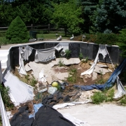 BEFORE - Polymer wall pool after 5 years of exposure to the elements without water.
