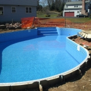 In Progress - Installed new liner which is also covering steel step.