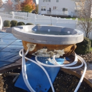 In progress - Hot tub prior to re-installation with new plumbing lines.