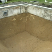 AFTER - Sand bottom pool retroweled prior to vinyl liner installation.
